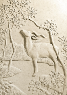 This beautiful sculpture in relief by Sarah Rintoul shows a Kudu tree grazing in Kruger National park